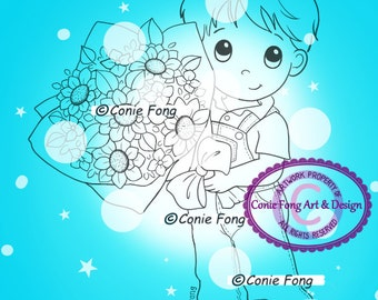 SALE digital Stamp, Digi Stamp, digistamp, Bouquet Benny by Conie Fong, love, Boy, flowers, Mother's Day
