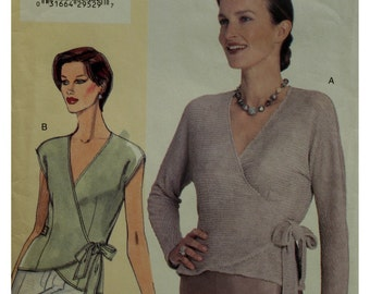 """Sandra Betzina Knit Wrap Blouse Pattern, V-Neck, Fitted, Side Ties, Sleeveless, Long Sleeves, Vogue 7024 UNCUT Size 10 12 14 Bust 32 34 36"""""""