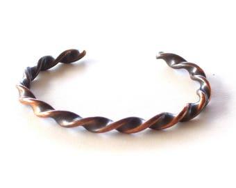 Copper Twist Cuff Bracelet, Vintage Copper Cuff, Thin Copper Cuff, Women's Copper Bracelet, Boho Copper Bracelet, The Copper Cat