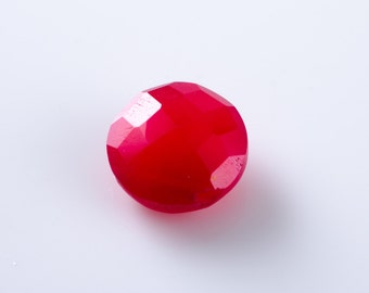 Raspberry Red Chalcedony Faceted Coin Briolette Beads