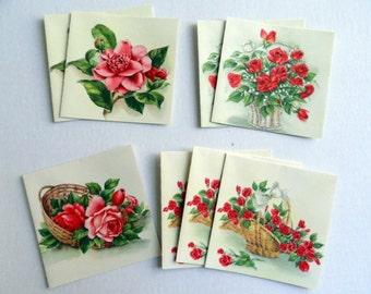 Vintage Hallmark Square Unsigned Rose Cards Set, Blank, 8 cards with matching envelopes, Floral Stationery,