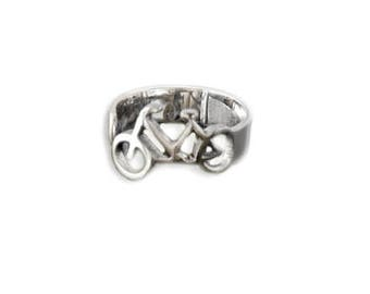 Bicycle ring made of sliver 925. Cycling jewelry for cycling lovers.