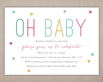 BABY SHOWER - Oh Baby, Printable Invitation, Gender Neutral, Shower Invite, Modern and Simple, Sprinkle, DIY, Fun Dots Multi Colored 014