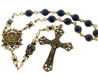 Handmade Bronze St Kateri Tekakwita Blue Lapis and Swarovski Crystal Pocket Rosary by Heavenly Divine Rosaries