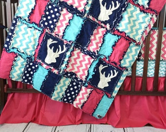Woodland Nursery Bedding - Turquoise / Navy / Pink Girls Bedroom Crib Set - Deer Crib Bedding - Hunting Nursery- Quilt/ Sheet/ Skirt/ Bumper