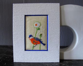 Bird and flowers embroidered cross stitch chart