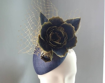 Cocktail Hat Flower Navy Blue and Gold Royal Ascot Wedding