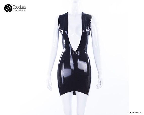 V Latex Mini Dress