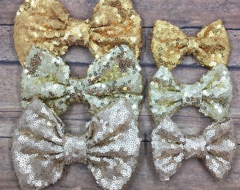 Gold Sequin Bow on Shimmer Elastic Headband, Hair Tie, or Clip;  Sequin Hair Bow, Gold Hair Bow, Gold Sequin Bow, Bow on Hair Tie