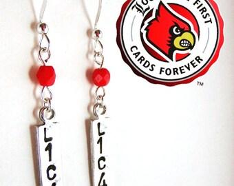 University of Louisville Earrings - L1C4 - Louisville Cardinals Earrings - Handstamped Metal Earrings