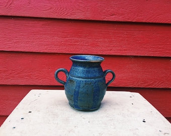 Blue Striped Vase with Handles