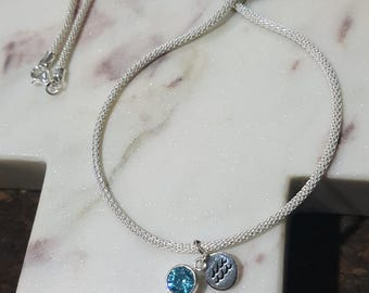 Sterling Silver Wave and Round Aquamarine Gemstone Necklace