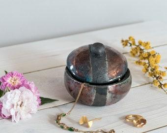 7. Ceramic, green / bronze, Raku fired, handmade, lidded box small, jewelry box, one of a kind.