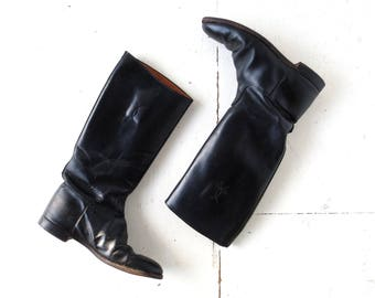 Vintage Riding Boots | Black Leather Boots | Equestrian Boots | Size 9