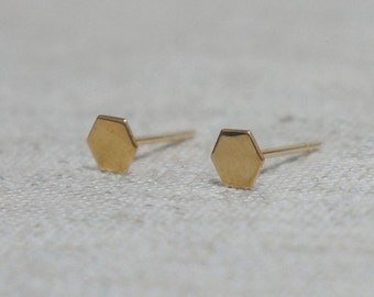 10K Gold Tiny Hexagon stud earrings, solid Gold, 10k real Gold, Geometric stud - TG018