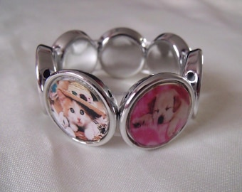 LIQUIDATION elastic silver bracelet cabochons kittens and puppies
