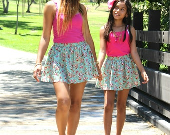 CLEARANCE, Light Blue Floral Skirts, mommy and me, mother daughter, mommy and baby, matching outfits, matching skirts