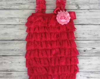 Petti Romper with flower - Lace Romper -Toddler Petti Romper Girls Romper -Romper - Ruffle Romper - Petti Lace Romper - Baby Outfit