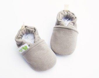 Warm Organic Cotton Fleece in Light Shroom Vegan / All Fabric Soft Sole Baby Shoes / Made to Order / Babies