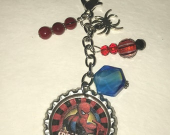 Handmade Bottlecap clip-ons or keychains Red and Blue Spiderman