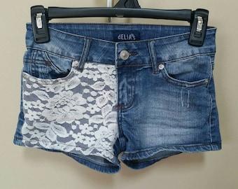 Jean destroyed shorts, Size 00 Upcylced/Altered (Waist 25 in)  // Distressed Shorts // Size 00 Shorts // Pocket Shorts // Upcycled Shorts //