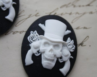 5 Unset Skull Cameos - White on Black - 30x40mm - Cabochon Cabs