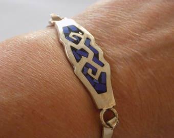 Vintage bracelet, sterling silver 925 bracelet, cuff bracelet, blue stone bracelet, Mexican jewelry, vintage jewelry