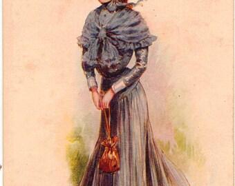 Vintage Postcard, Artist Signed ARCHIE GUNN,  Miss Philadelphia, ca 1910