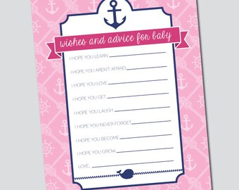Pink and Navy Nautical Baby Shower Game Printable - Baby Wishes, Baby Advice