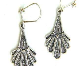 Sterling Silver Artisan Filigree Ethnic Earrings - ID1101