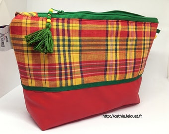 Pouch green madras