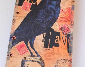 Hardcover Sketchbook, Raven Sketchbook, Mixed Media Sketchbook, Altered Art Sketchbook, Unique Sketchbook, Junk Journal
