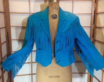 Turquoise Fringe Cowgirl Jacket Suede Leather Short Jacket  S/M