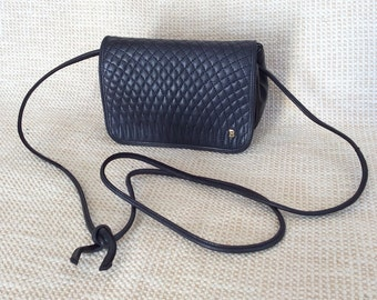 Genuine vintage BALLY black quilted leather shoulder bag crossbody with flap