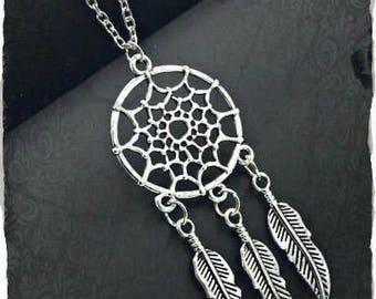Dream catcher necklace, Native American Style, Dream Catcher,  protection necklace, Feather necklace, Reiki Jewelery