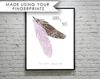 Wedding Guest Book Alternative Feather Guestbook with Your Fingerprint Guestbook - Unique Guest book Ideas - Anniversary Gift