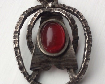 Vintage brutalist silver pendant