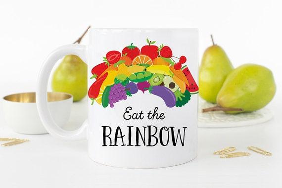 Coffee Mug Eat The Rainbow Coffee Cup - Great Gift for Vegan or Vegetarian - Healthy Eating Mug