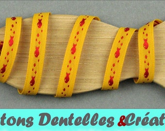 Sailor stripe woven - fish - 7mm - 5 m - (yellow and Red-07-02)