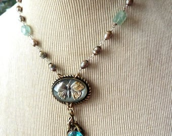 Lizards and Butterfly Necklace - Vintage Components and Semi-Precious Beads