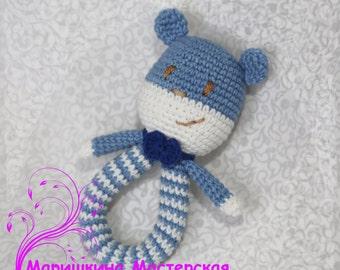 Baby Bear Rattle stuffed toy Baby Softies Teddy Bear Rattle Crochet Rattle Baby plush toy Gift for baby