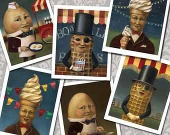 Retro Food Cards,  Vintage Food Icon Notecards, Mr. Peanut, Mr. Softee,  Humpty Dumpty, Mid Century, Anthropomorphic Food,