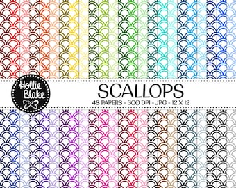 50% off SALE!! 48 Scallops Digital Paper • Rainbow Digital Paper • Commercial Use • Instant Download • #SCALLOPS-102-1