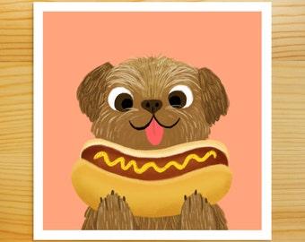 SALE!! Dog with Hot Dog 5x5 Print