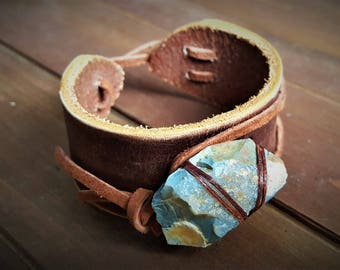 Leather and Stone Cuff