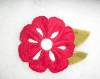 Felted brooch from wool - red flower, Gift for her, Red brooch, Good mood wool brooch, Wool felted flowers, Red brooch, Red flower