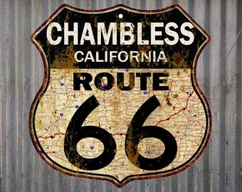 Chambless, California Route 66 Vintage Look Rustic 12X12 Metal Shield Sign S122061