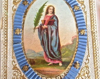 1867 Holy Card One is Baptism Invitation with Wax Seal with Mary in Blue Oval