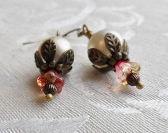 75% Off Clearance Sale, Czech Glass Earrings, Blossom, Orange-Red, Pink Golden, Pearl