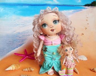 dolls, handmade dolls, rag dolls, textile dolls, handmade dolls, cloth dolls, fabric dolls,mermaid,gift girl